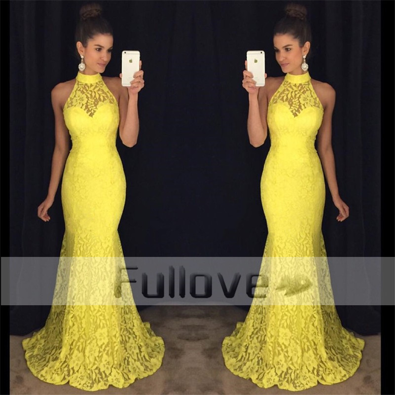 Noble yellow lace prom dress long 2017 appliques mermaid for Yellow wedding dresses for sale