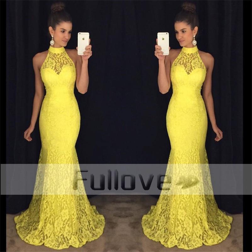 Noble Yellow Lace   Prom     Dress   Long 2019 Appliques Mermaid Formal   Prom     Dresses   Party Gown Vestidos De Fiesta Abendkleider Abiye