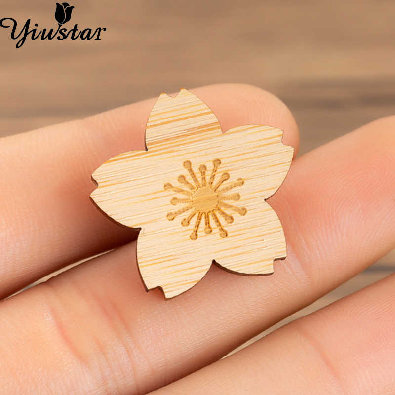 Yiustar Elegant Cherry Blossom Pin Wood Badges For Backpack Pin Badge for Clothes Charms Bamboo Pin Teacher Gift Pin Brooches