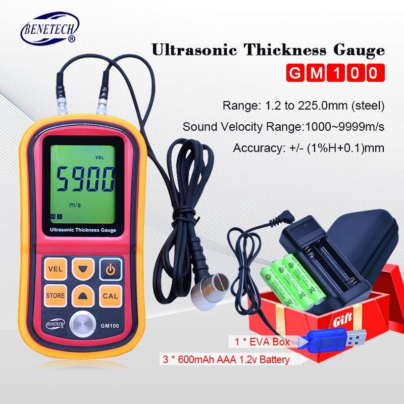 Jauge D'épaisseur à ultrasons gm100 Instruments De Mesure 1.2-200mm Voix Son Compteur de Vitesse EVA BOÎTE + Rechargeable au lithium batterie