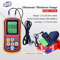 Ultrasonic Thickness Gauge gm100 Measuring Instruments 1.2 200MM Voice Sound Velocity Meter EVA BOX+Rechargeable lithium battery