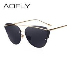 AOFLY Original Brand Sunglasses 2017 Super Fashion Cat Eye Women Glasses Double Bridge Frame Luxury Designer Revo Lens AF79106