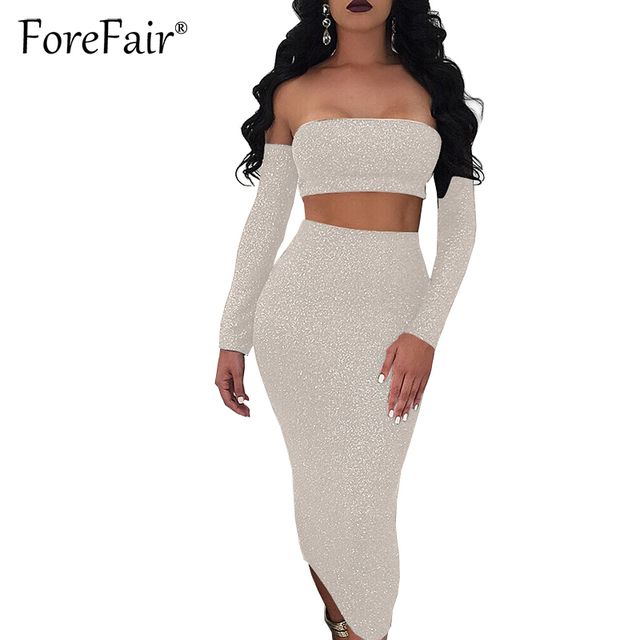 3bedf4c15c2 Forefair 2018 Mid Skirt Sets Women Tight Tracksuit 2 Piece Set Sexy  Strapless Off Shoulder Lace