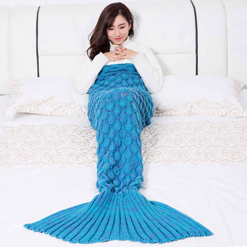 Slowdream Mermaid Blanket Winter Throw Bedspread Knitted Handmade Crochet Cream Colour Mermaid Blanket Wrap Sleep Bed Sofa Cover in Blankets from Home Garden