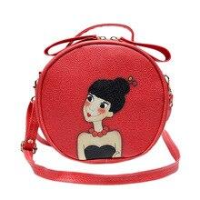 Sommer Tasche Für Mädchen Gedruckt Leder Frauen Handtasche Schulter Kreisförmig Druck Cartoon Kupplung Crossbody Bolsos Hombro Mujer