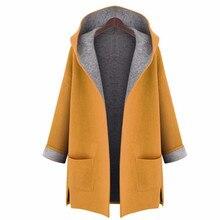 Свободное Утягивающее однотонное повседневное пальто с длинным рукавом и карманом с капюшоном, шерстяное пальто большого размера с широкой талией, открытый стежок, женская одежда, Тренч