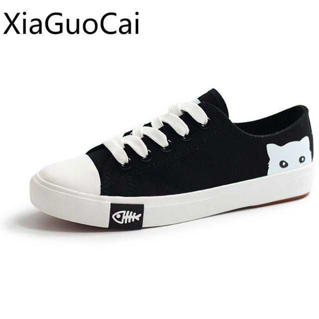 63fd04a11 Cute Fashion Women Canvas Shoes Cat Cartoon Rubber Flat Casual Shoes for  Spring and Autumn Black Low Top Shoes Lu7 35