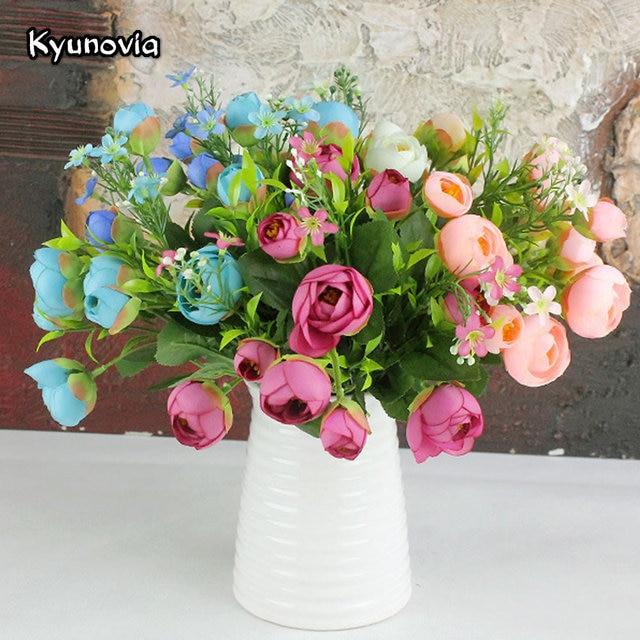 Kyunovia 5 Cabang Buatan Sutra Teh Mawar Kuncup Peony Rumah Pesta Bouquet  Untuk Pernikahan Rumah Dekorasi bcbe03158f
