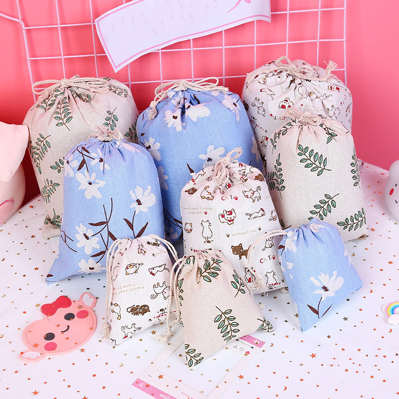 Cartoon Plant Leaf Drawstring Cosmetic Bag Women Travel Make Up Case Organizer Storage Makeup Toiletry Beauty Wash  Pouch