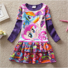 Baby Girls Clothes Long Sleeve Dress Cartoon My Pony Kids Flower Princess Children Vestido