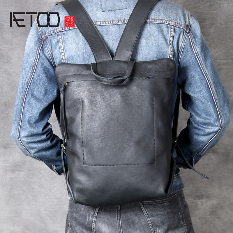 AETOO Head-layer Cowhide Minimalist Design Double Shoulder Bag Simple Backpack Men And Women Handmade Leather Bag