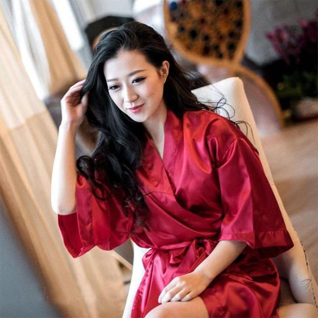 a6e1616efa Summer Burgundy Negligee Chinese Bride Wedding Robe Satin Sleepwear Women  Nightgown Sexy Nightdress Lady Kimono Bathrobe Gown