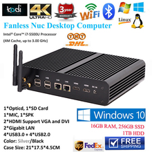 Corei7 5500U 16 Г RAM 256 Г SSD 1 ТБ HDD Безвентиляторный Тонкий Computador Mini PC Окна TV Box Media Center DHL FreeShipping Windows 10