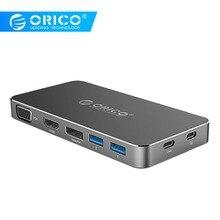 ORICO USB محور نوع C إلى HDMI 3.0 محور ديسبلايبورت VGA محول للحاسوب النقال سامسونج S8 S9 هواوي P20 برو نوع C محور شحن سريع
