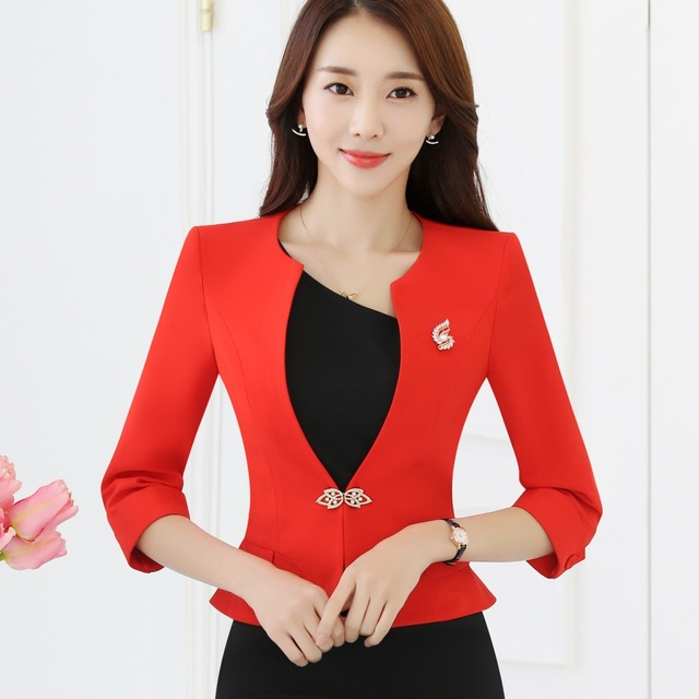 Ladies Blazers 3 4 sleeve Ruffle Hem White Red Formal Jacket Suit Spring Slim  Fit Plus Size Work Wear Uniform single button a4eded07d79a