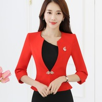 Ladies Blazers 3 4 Sleeve Ruffle Hem White Red Formal Jacket Suit Spring Slim Fit Plus