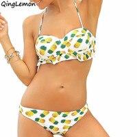 Abacaxi Do Vintage Sexy Conjunto Bikini Brasileiro Push Up Strapless Swimwear Swimsuit Ruffle Flounce Maiô Lolita S M L