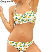 Sexy Vintage Pineapple Bikini Set Brazilian Push Up Strapless Women Swimwear Swimsuit Ruffle Flounce Bathing Suit