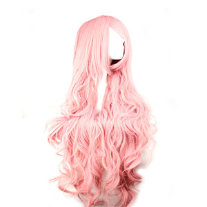 Image 4 - WoodFestival 100 cm Cosplay Wig Pink Yellow Purple High Temperature Fiber Heat Resistant Long Wavy Synthetic Wigs for Women