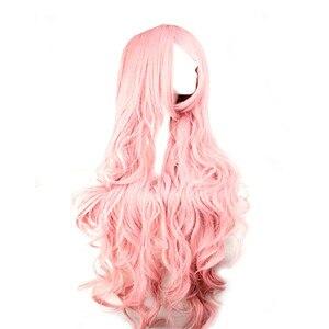 Image 4 - WoodFestival 100 cm 코스프레 가발 핑크 옐로우 퍼플 고온 섬유 내열성 긴 물결 모양의 합성 가발 여성을위한