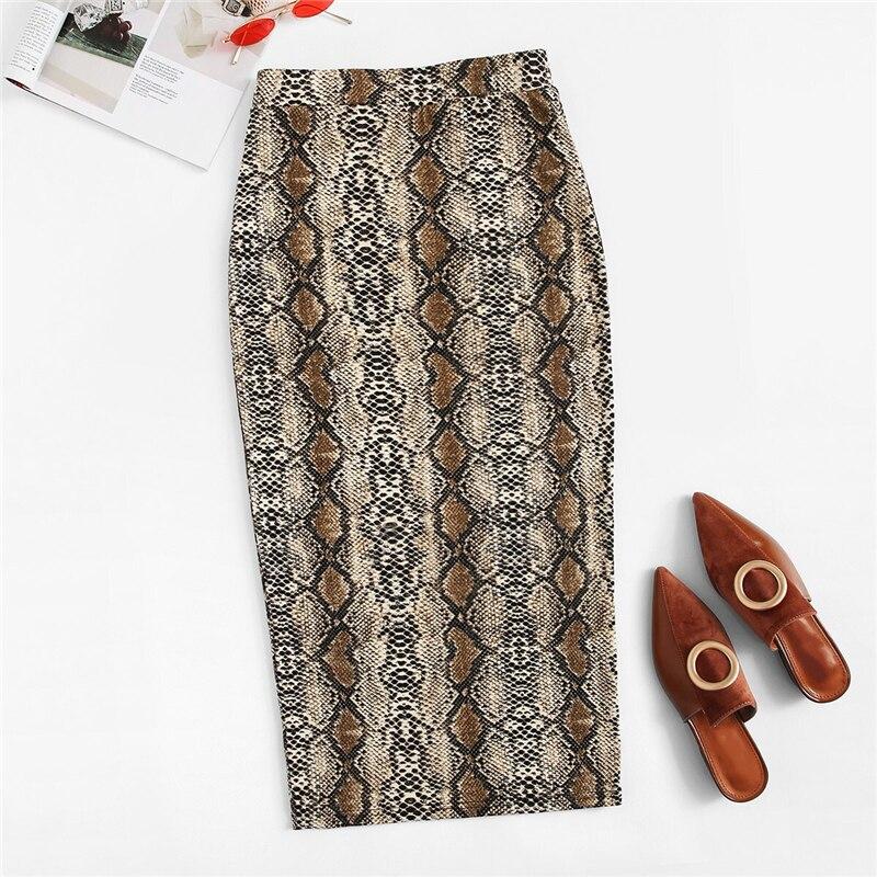 SweatyRocks Split Hem Snakeskin Print Pencil Skirt For Women Elegant Multicolor Long Skirts Womens 2019 Neon Lime Bodycon Skirt