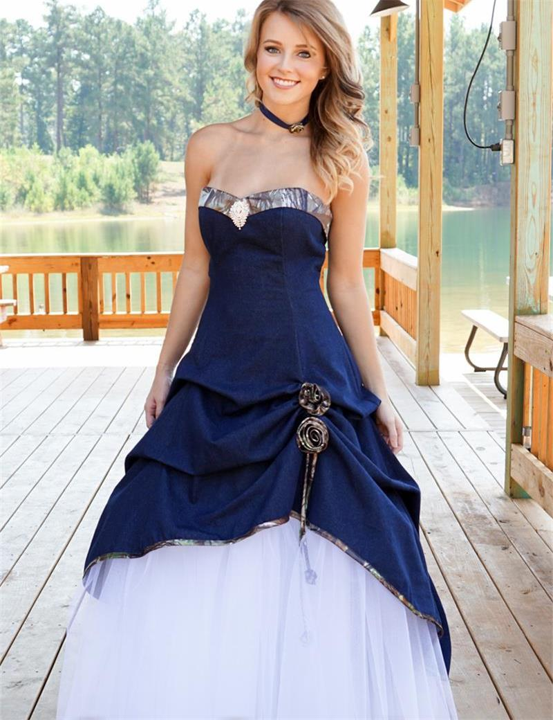 Wedding Dress With Royal Blue Color : Royal blue wedding dress special elegant ivory and