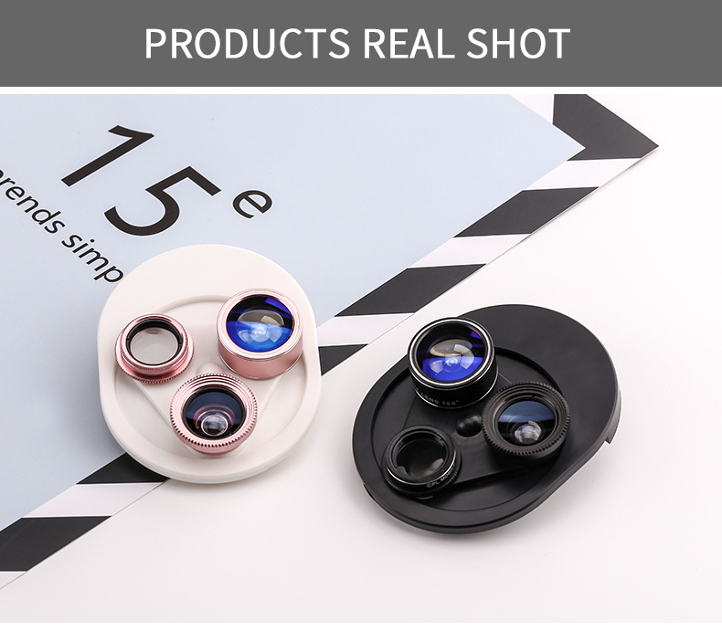 Cell Phone Camera Lens 4 in 1 Universal Professional Kit Fisheye Macro + Wide-angle + CPL Polarized Lens For iPhone Samsung 27