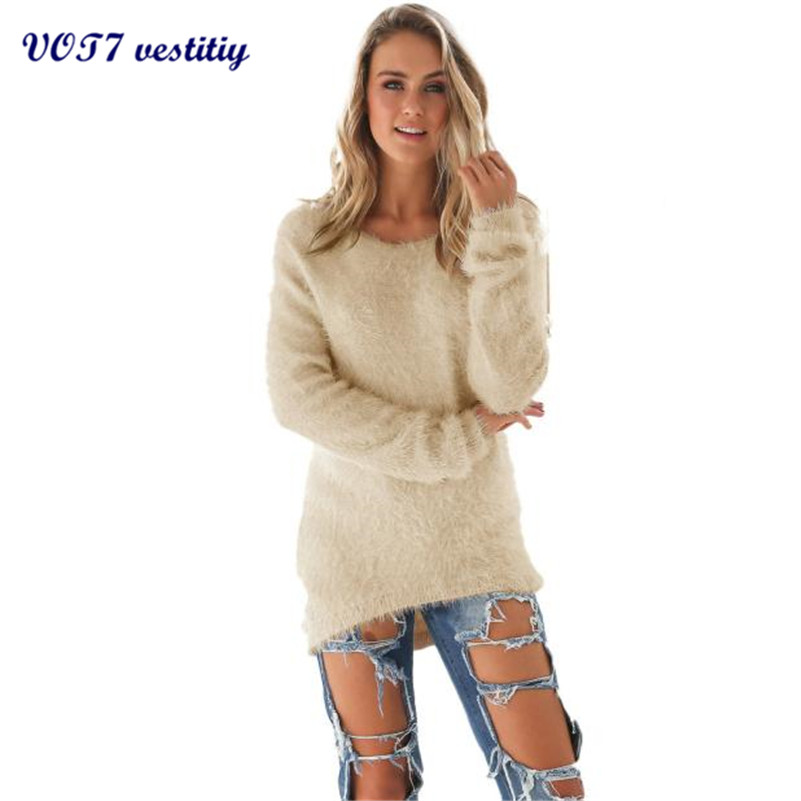 VOT7 vestitiy 2017 sexy Womens Casual Solid Long Sleeve Jumper Sweaters Blouse Christmas gift Oct 7