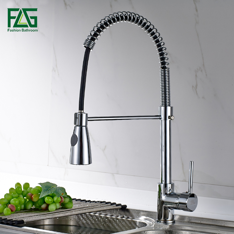 Brass kitchen Faucet Pull Out Mixer Tap Single Handle Deck Mounted Sink Faucet Hot And Cold Water Spring Torneira high quality single handle brass hot and cold basin sink kitchen faucet mixer tap with two hose kitchen taps torneira cozinha