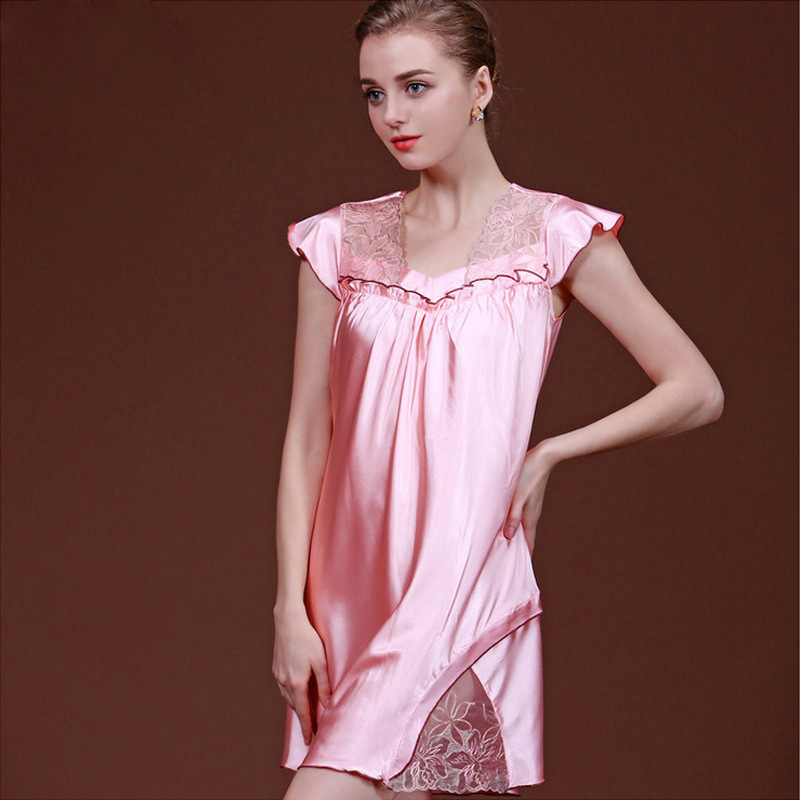 Summer Genuine Silk Nightdress Women Elegant Floral Sexy Lace Sleepdress Girls   Nightgown     Sleepshirts   Womens Sleepdress B-6761