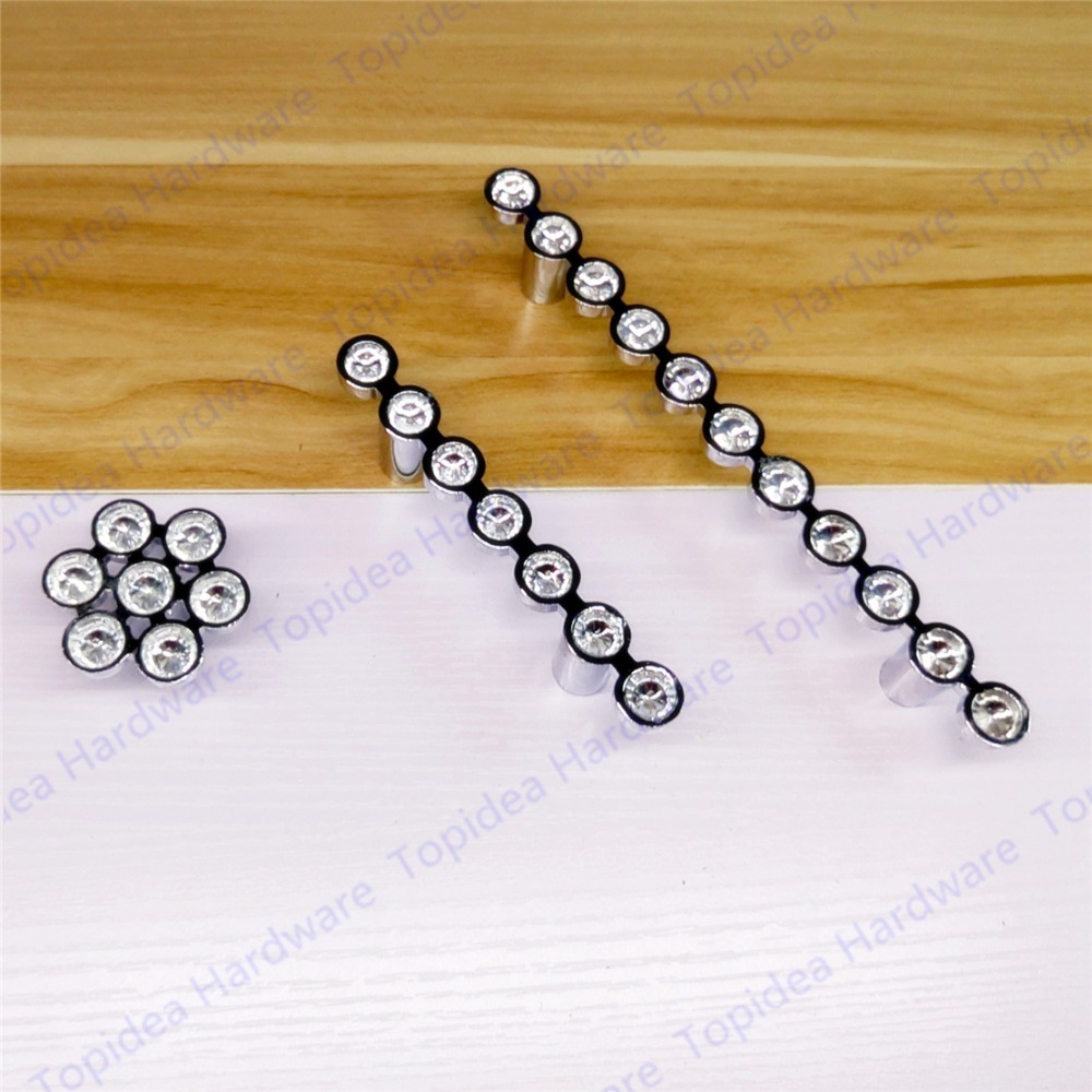 Hole Pitch 64/96mm/128mm Single Knob glossy silver Drawer Pulls Cabinet Handles Crystal Glass Furniture Handle
