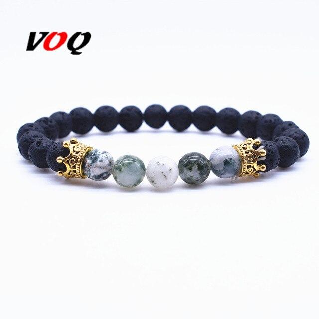 dab65a301b64 Nuevo estilo oro plata Color corona Chakra pulsera negro Lava Rock piedra  Strand pulseras para las