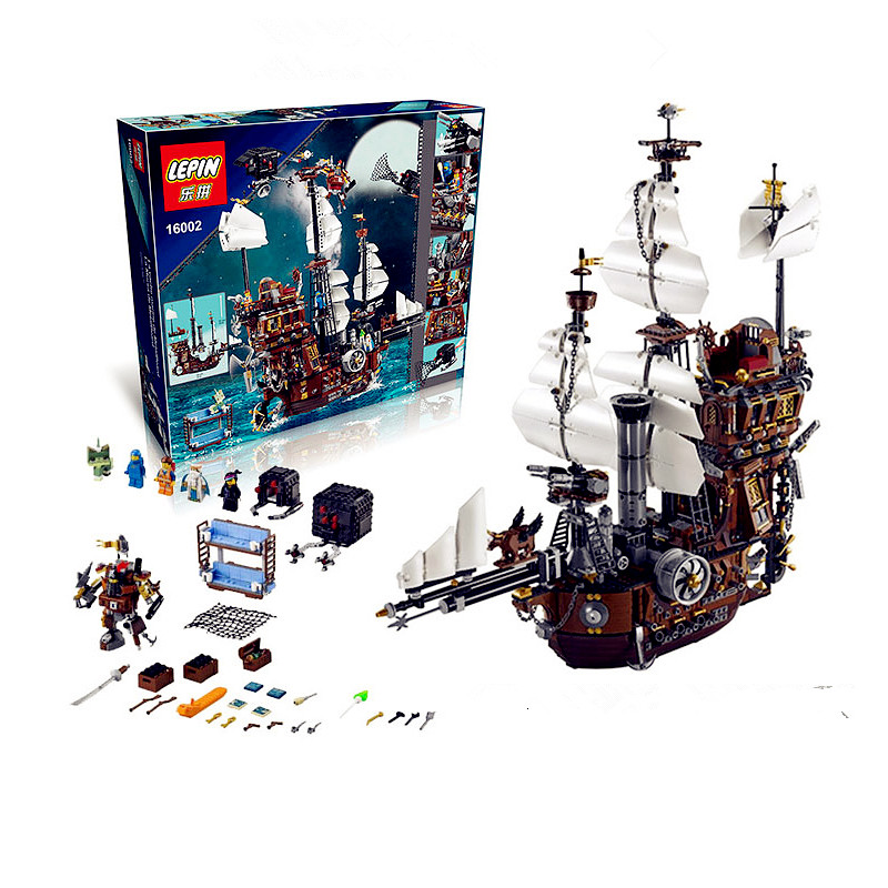 IN STOCK LEPIN 16002 2791Pcs Pirate Ship MetalBeard's Sea Cow Model Building Kits Blocks Bricks Compatible Children Toys 70810 lepin 16002 pirate ship metal beard s sea cow model building kit block 2791pcs bricks compatible with legoe caribbean 70810