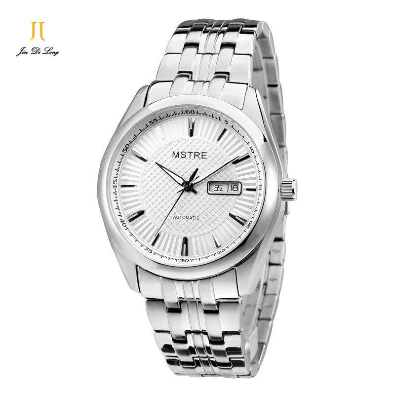 Classic Glory Fashion Men Business Watch Auto Mechanical Flywheel Wrist watch Sapphire Stainless Steel Calendar Luminous
