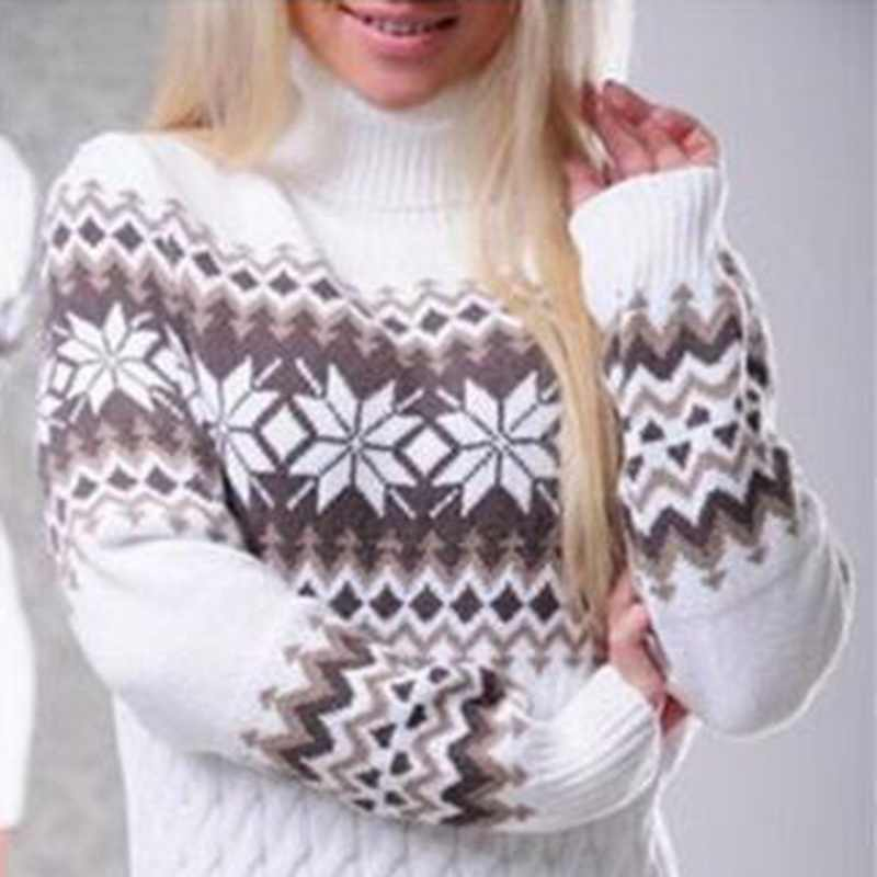 767373f7356 ... LASPERAL Autumn Winter Long Sleeve Turtleneck Pullover Women Sweater  Snowflake Knitwear Female Long Sweater Dresses Vestidos ...