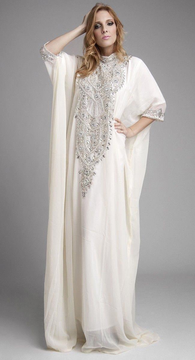 Crystal Beaded High Neck Jilbabs Muslim Arabic Kaftan