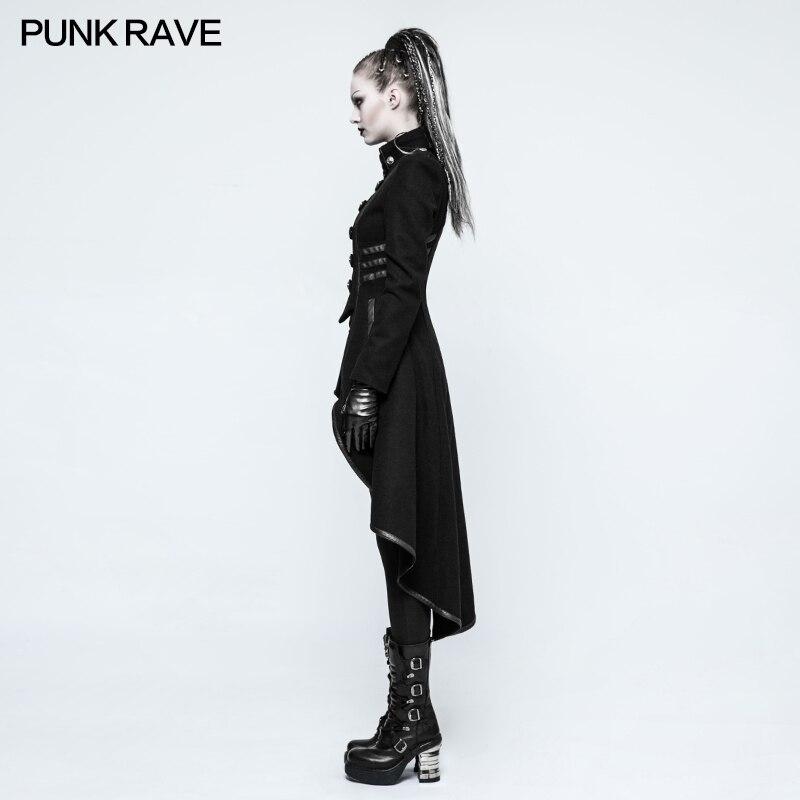 PUNKRAVE, chaqueta Punk militar para mujer, chaqueta de lana con cuello alto, abrigo de talla grande, negro, motocicleta, Casual, señoras, prendas de vestir, gabardina - 2