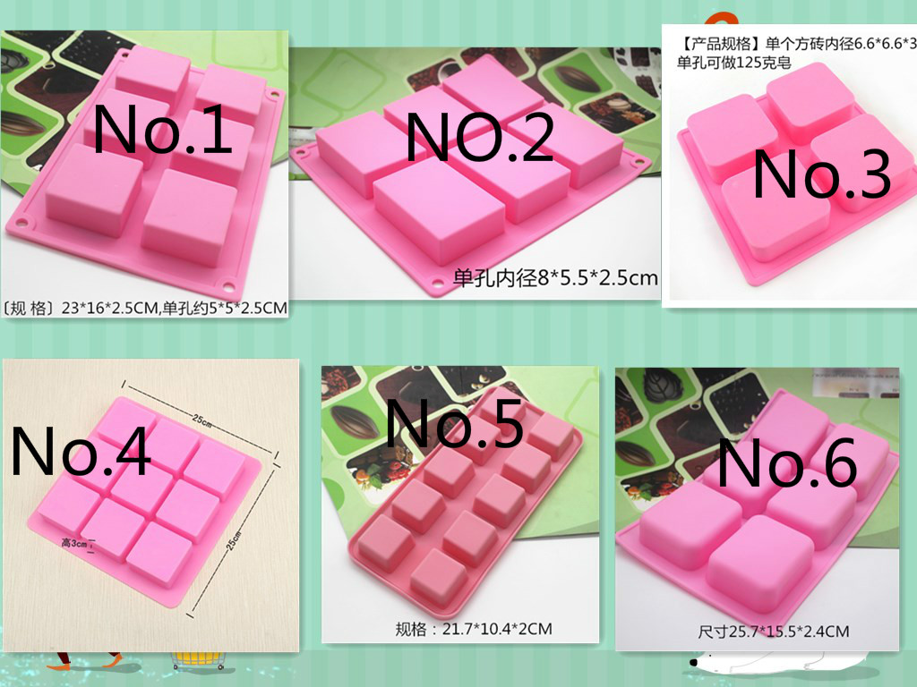 Connected Food Grade Square Silicone Molds for Soap Making Rectangle Cake Chocolate Pudding Blocks Mold