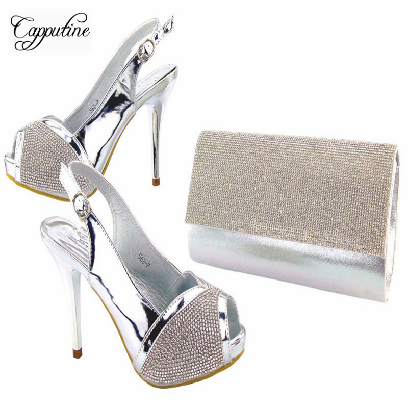 Capputine Hot Selling Italian Silver Shoes And Purse Set Fashion Crystal Woman High Heels Shoes And Bag Set For Wedding Party capputine italian style rhinestone shoes and evening bag set fashion woman thin high heel shoes and bag set for wedding party