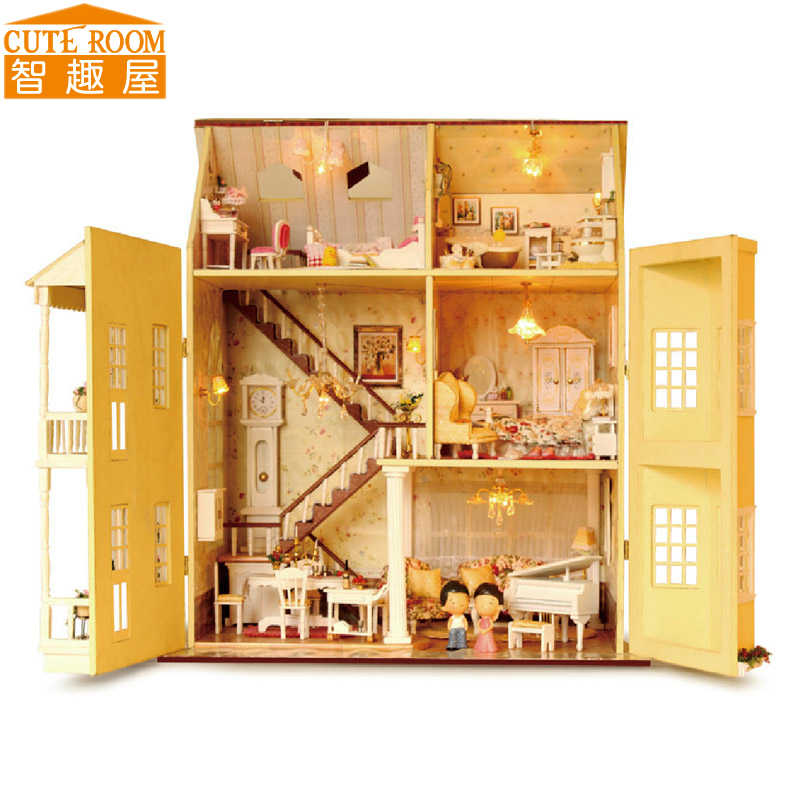 Assemble DIY Doll House Toy Wooden Miniatura Doll Houses Miniature Dollhouse toys With Furniture LED Lights Birthday Gift A010