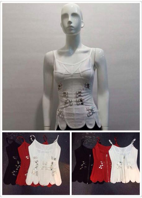 Envío Gratis Mujeres Top Del Verano 2016 de La Moda de Metal Piezas Del Vendaje de la Parte Superior