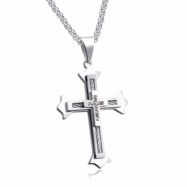 Wire Cable Cross Pendant Necklaces For Men Punk Cubic Zircon ...