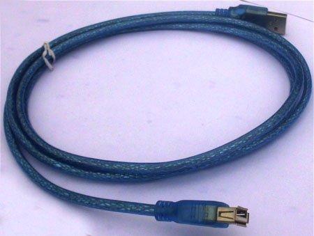 USB Extension Cable  Transparent blue 1.5M USB AM to AF Cable