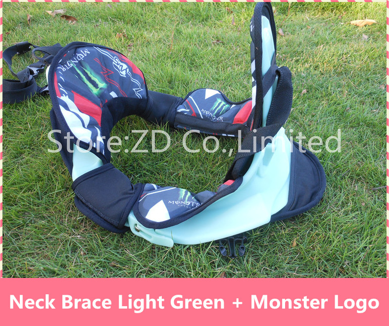 New Light Green + Monster Logo Motocross Neck Brace Guard Around Protection Protector For Riding Racing Bicycle Motorcycle цена и фото