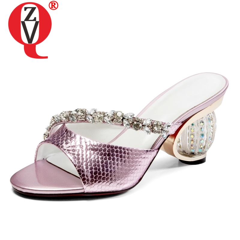 ZVQ shoes women 2019 summer new fashion sexy crystal decoration open toe women slippers outside super