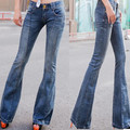High waist jeans breasted female flared trousers wide leg pants casual denim pants plus size