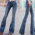 Pantalones vaqueros de cintura alta pantalones acampanados pantalones de pierna ancha ocasional pantalones de mezclilla femenina breasted más el tamaño