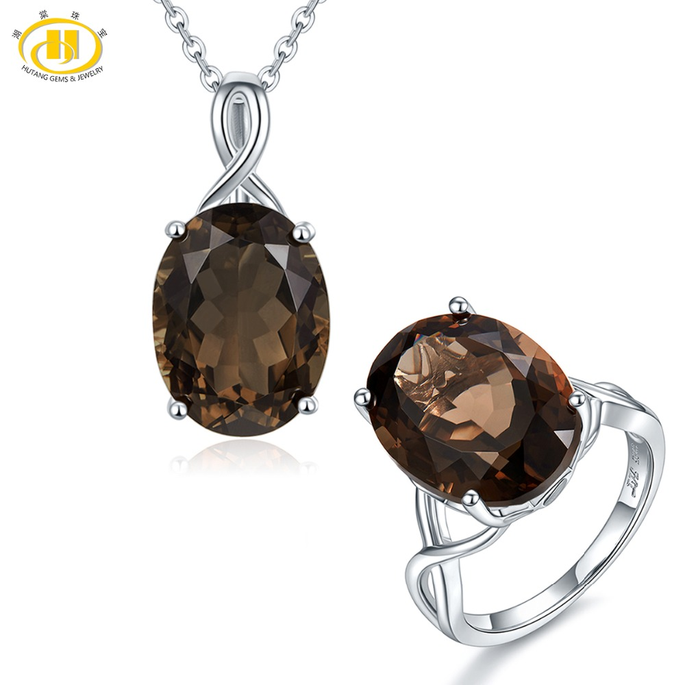 Hutang 16x12mm Natural Smoky Quartz Jewelry Sets Pendant Ring 925 Silver Fine Gemstone Jewelry for Women