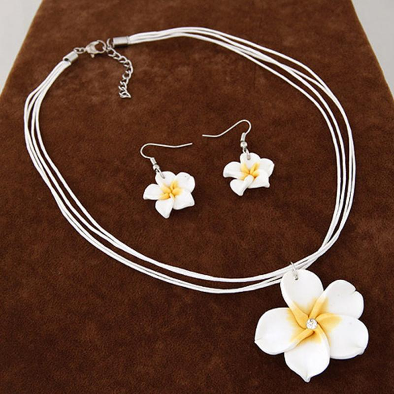 2019 New Fashion Hawaii Plumeria Flowers Jewelry Sets Fimo