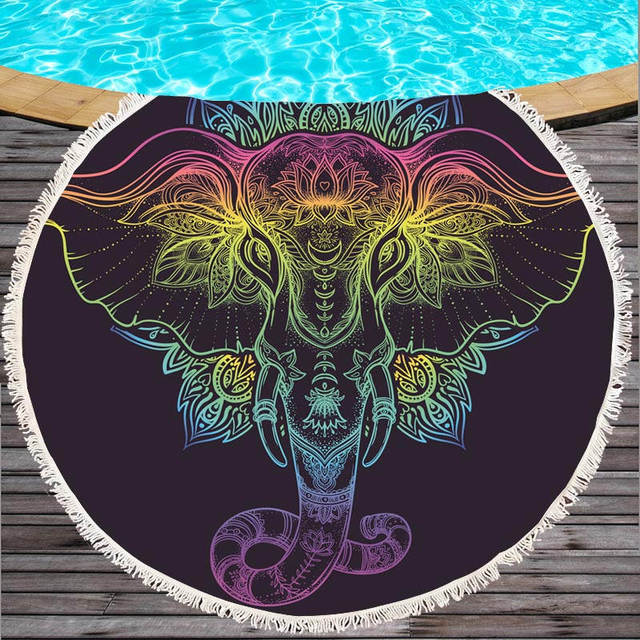 Microfiber Elephant Summer 150cm Round Beach Towel with Tassel for Adults Yoga Mats Bath Towels Tapestry Suncreen Beach Cover